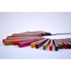 Conjunto colgante + pendientes de cebù piezas planas colores